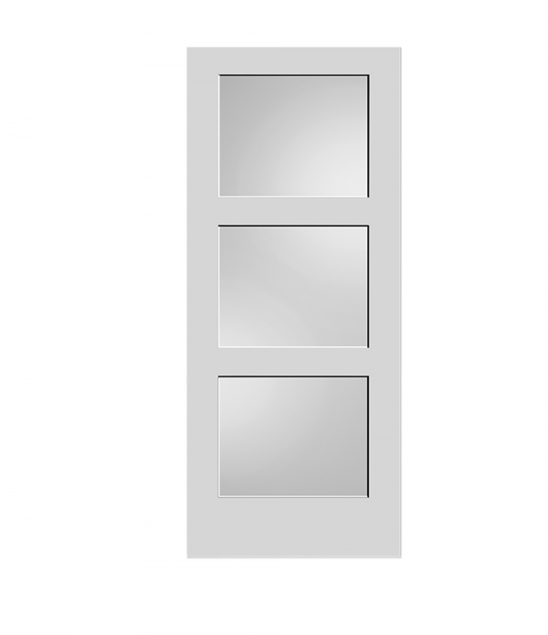 Frosted Glass 3-Panel Door