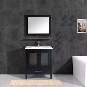 30 - 36 inch modern grey glass bathroom vanity