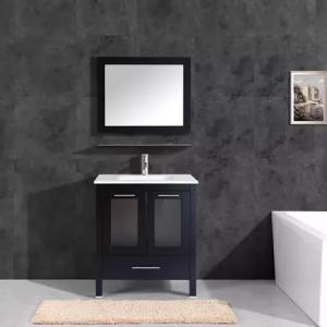 30 - 36 inch modern grey glass bathroom vanity