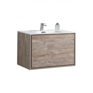 DeLusso - Wall Mount Modern Bathroom Vanity - Nature Wood