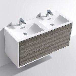 DeLusso - Wall Mount Modern Bathroom Vanity - Ash Gray