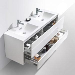 DeLusso - Wall Mount Modern Bathroom Vanity - High Glossy White