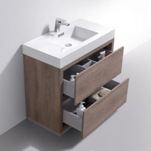 Bliss - Free Standing Modern Bathroom Vanity - Butternut