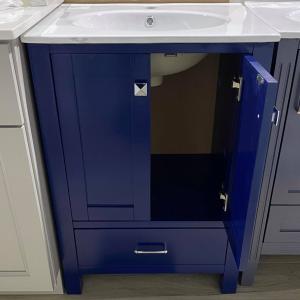 "Tesoro - 24"" Dark Blue Vanity with Ceramic Top - (K24AZ)"