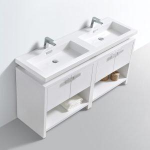 Levi - Modern Bathroom Vanity - High Gloss White