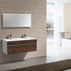"Fitto - Wall Mount Modern Bathroom Vanity - Rose Wood 48"""