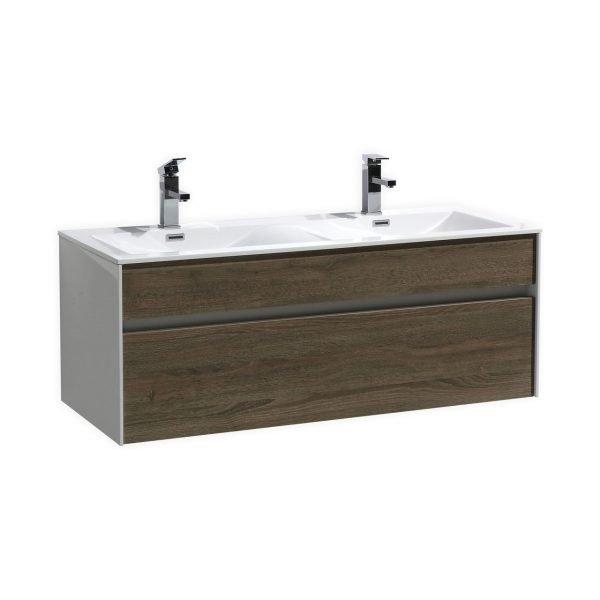 "Fitto - Wall Mount Modern Bathroom Vanity - Havana Oak 48"""