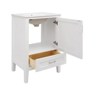 "Tesoro – 24"" White Vanity with Ceramic Top – (C24WT)"