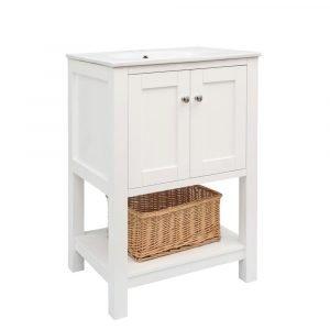 "Tesoro – 24"" White Vanity with Ceramic Top – (D24WT)"