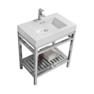 Cisco - Stainless Steel Console W/ White Acrylic Sink – Chrome