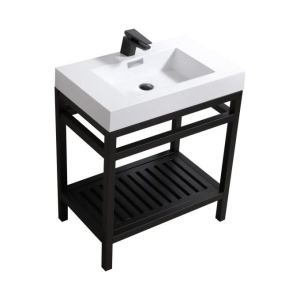 Cisco - Stainless Steel Console W/ White Acrylic Sink – Matte Black