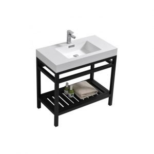 Cisco - Stainless Steel Console W/ White Acrylic Sink