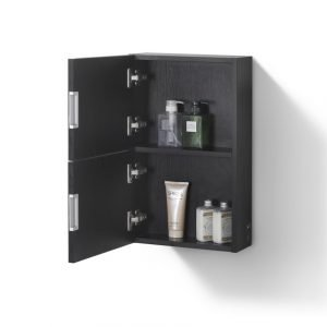 """Bliss 14"""" Wide by 24"""" High Linen Side Cabinet With One Door in Black Wood Finish"""
