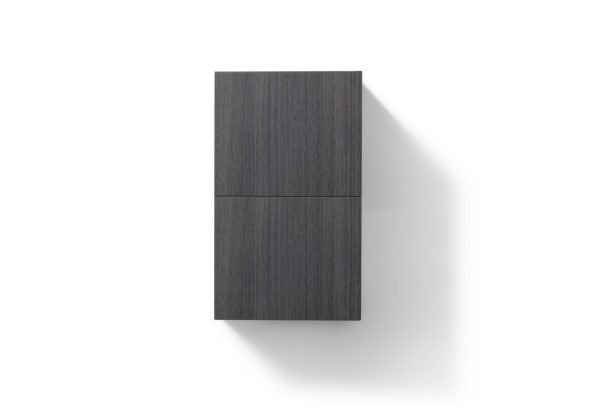 """Bliss 14"""" Wide by 24"""" High Linen Side Cabinet With One Door in High Gloss Gray Oak Finish"""