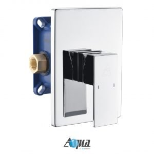 "Aqua Piazza Chrome Shower Set with 12"" Ceiling Mount Square Rain Shower"