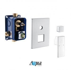 """Aqua Piazza Brass Shower Set with 12"""" Ceiling Mount Square Rain Shower, 4 Body Jets and Handheld"""