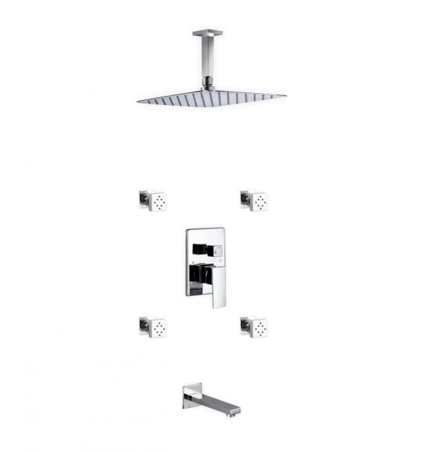 """Aqua Piazza Brass Shower Set with 12"""" Ceiling Mount Square Rain Shower, Tub Filler and 4 Body Jets"""