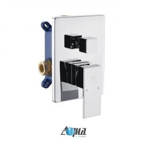 """Aqua Piazza Brass Shower Set with 12"""" Ceiling Mount Square Rain Shower and 4 Body Jets"""