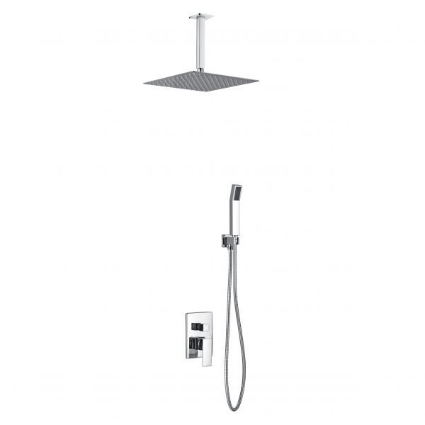 """Aqua Piazza Brass Shower Set with 12"""" Ceiling Mount Square Rain Shower and Handheld"""
