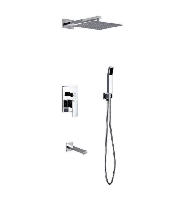 "Aqua Piazza Brass Shower Set with 12"" Square Rain Shower, Handheld and Tub Filler"