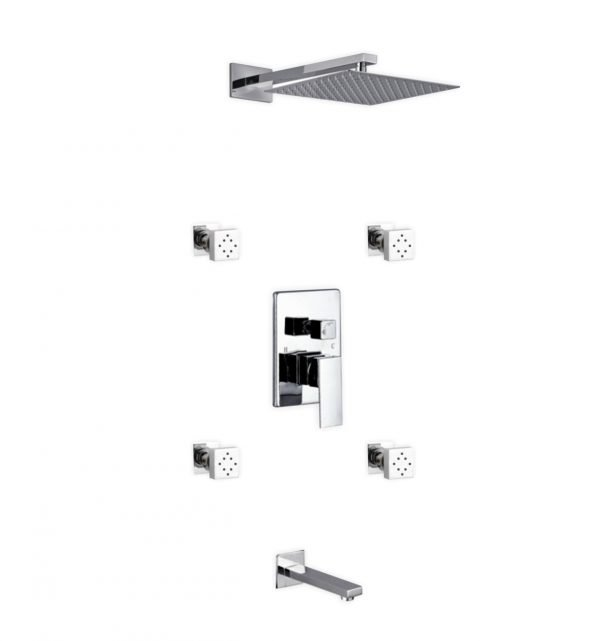 """Aqua Piazza Brass Shower Set with 12"""" Square Rain Shower, Tub Filler and 4 Body Jets"""