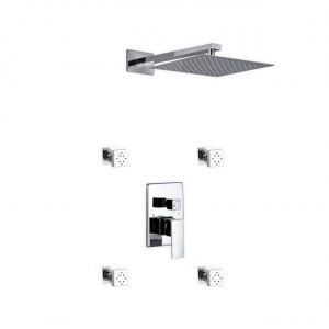 "Aqua Piazza Brass Shower Set with 12"" Square Rain Shower and 4 Body Jets"