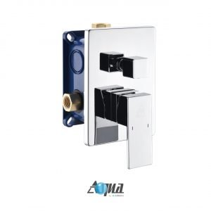 """Aqua Piazza Brass Shower Set with 8"""" Ceiling Mount Square Rain Shower, Handheld and 4 Body Jets"""