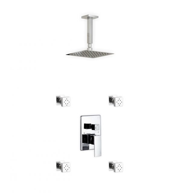 "Aqua Piazza Brass Shower Set with 8"" Ceiling Mount Square Rain Shower and 4 Body Jets"
