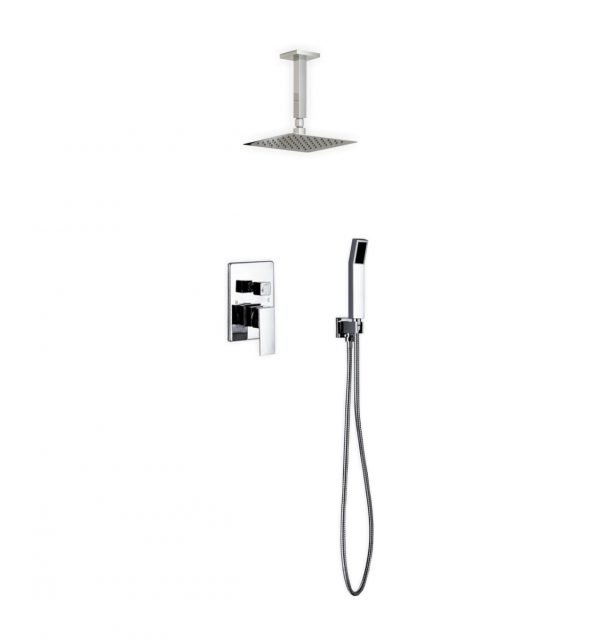 "Aqua Piazza Brass Shower Set with 8"" Ceiling Mount Square Rain Shower and Handheld"