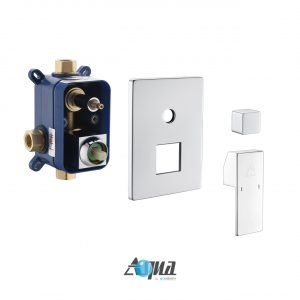 """Aqua Piazza Brass Shower Set with 8"""" Ceiling Mount Square Rain Shower and Tub Filler"""
