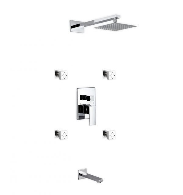 "Aqua Piazza Brass Shower Set with 8"" Square Rain Shower, 4 Body Jets and Tub Filler"