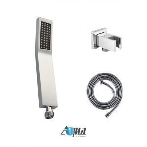 """Aqua Piazza Brass Shower Set with 8"""" Square Rain Shower, Tub Filler and Handheld"""