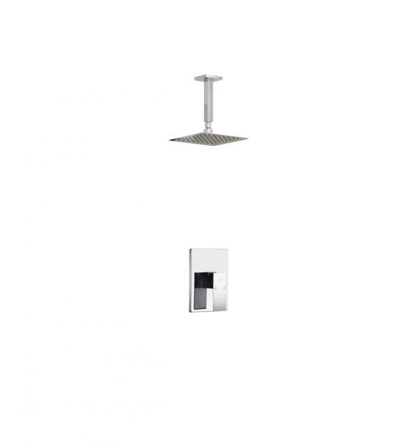 "Aqua Piazza Chrome Shower Set with 8"" Ceiling Mount Square Rain Shower"