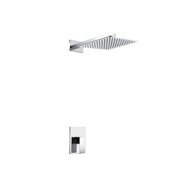 "Aqua Piazza Chrome  Shower Set with 8"" Square Rain Shower"