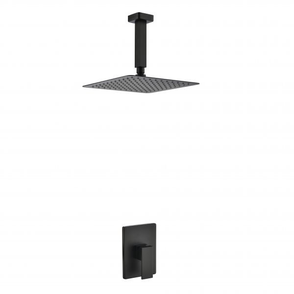 "Aqua Piazza Matte Black Shower Set with 12"" Ceiling Mount Square Rain Shower"
