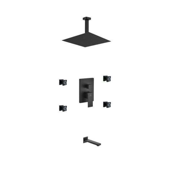 "Aqua Piazza Matte Black Shower Set with 12"" Ceiling Mount Square Rain Shower, Tub Filler and 4 Body Jets"