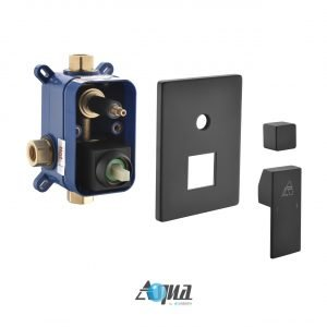 """Aqua Piazza Matte Black Shower Set with 12"""" Ceiling Mount Square Rain Shower and 4 Body Jets"""