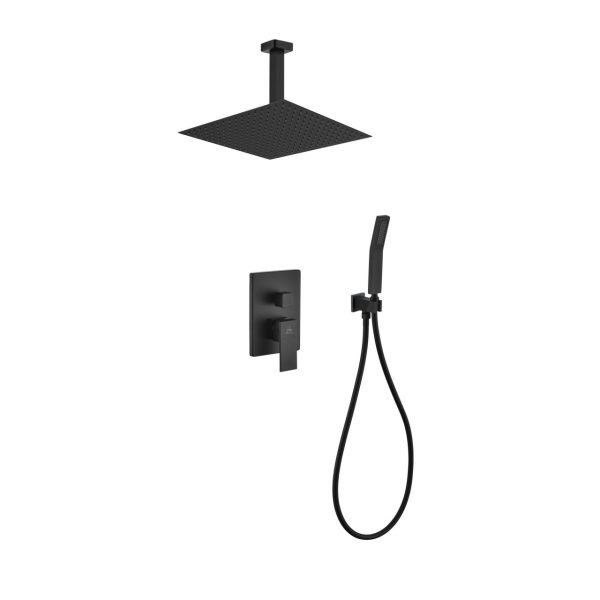 "Aqua Piazza Matte Black Shower Set with 12"" Ceiling Mount Square Rain Shower and Handheld"
