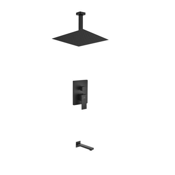 "Aqua Piazza Matte Black Shower Set with 12"" Ceiling Mount Square Rain Shower and Tub Filler"