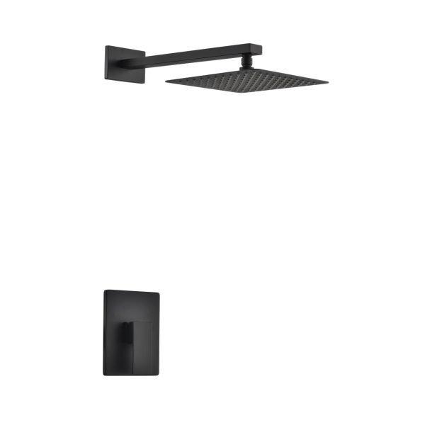 "Aqua Piazza Matte Black Shower Set with 12"" Square Rain Shower"