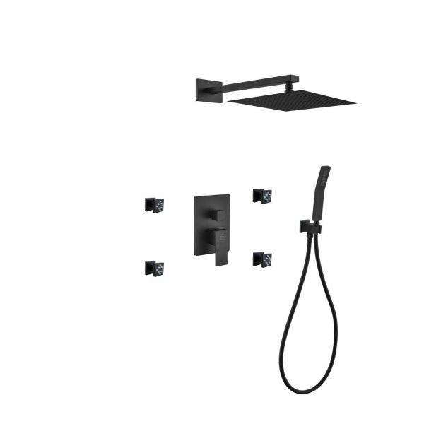 "Aqua Piazza Matte Black Shower Set with 12"" Square Rain Shower, Handheld and 4 Body Jets"