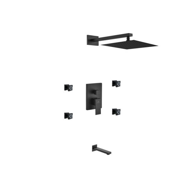 "Aqua Piazza Matte Black Shower Set with 12"" Square Rain Shower, Tub Filler and 4 Body Jets"