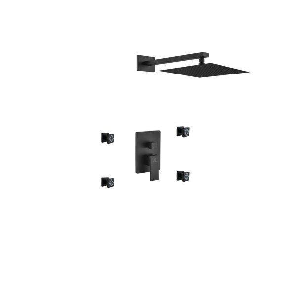 """Aqua Piazza Matte Black Shower Set with 12"""" Square Rain Shower and 4 Body Jets"""