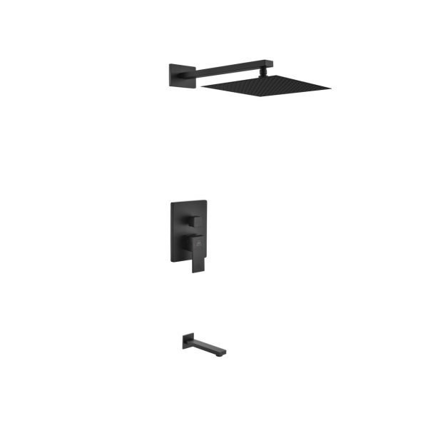 "Aqua Piazza Matte Black Shower Set with 12"" Square Rain Shower and Tub Filler"