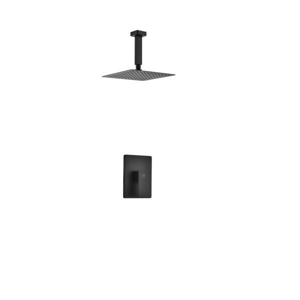 """Aqua Piazza Matte Black Shower Set with 8"""" Ceiling Mount Square Rain Shower"""