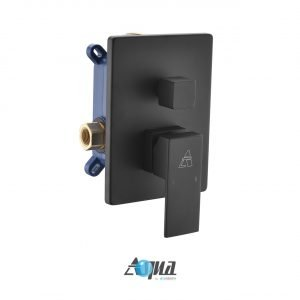 """Aqua Piazza Matte Black Shower Set with 8"""" Ceiling Mount Square Rain Shower and 4 Body Jets"""