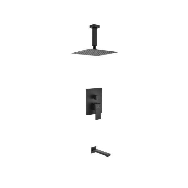 "Aqua Piazza Matte Black Shower Set with 8"" Ceiling Mount Square Rain Shower and Tub Filler"