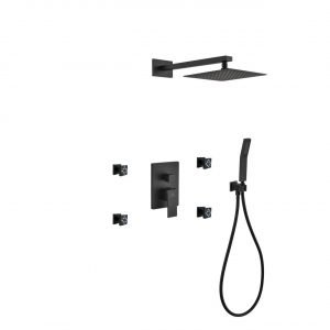 "Aqua Piazza Matte Black Shower Set with 8"" Square Rain Shower, 4 Body Jets and Handheld"