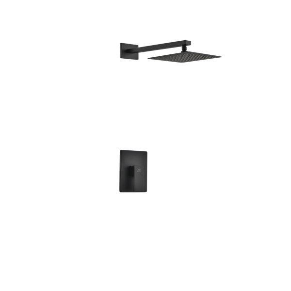 "Aqua Piazza Matte Black Shower Set with 8"" Square Rain Shower"