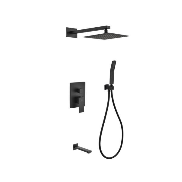 "Aqua Piazza Matte Black Shower Set with 8"" Square Rain Shower, Tub Filler and Handheld"